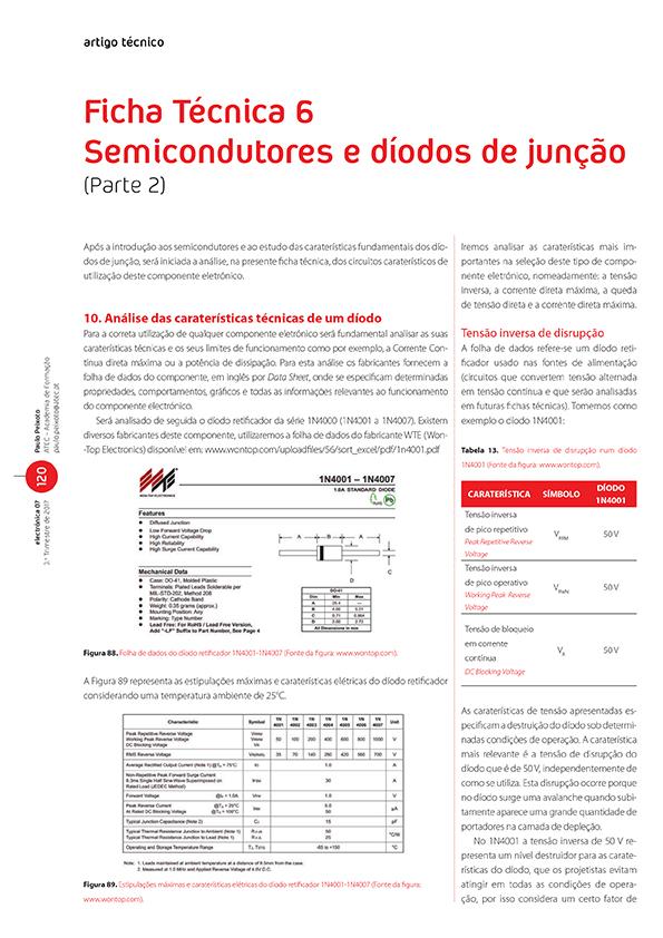 Artigo da Ficha Técnica 6: semicondutores e díodos de junção (Parte 2)