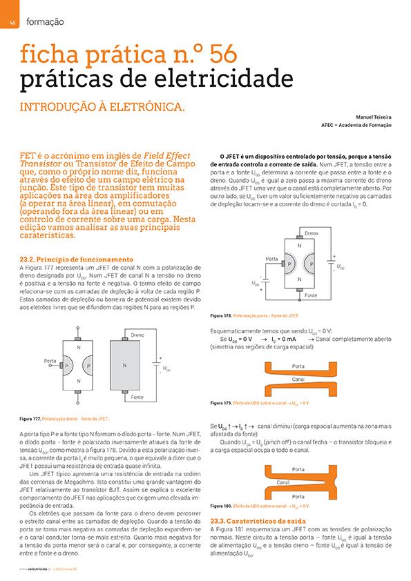 Artigo Ficha prática n.º 56: práticas de eletricidade - transístor (JFET)