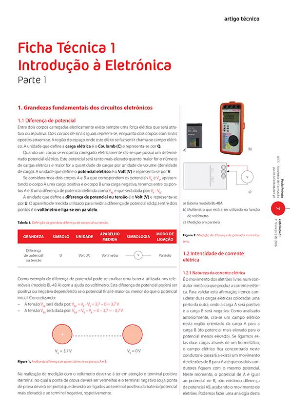 Artigo Ficha Técnica 1: Introdução à Eletrónica - Parte 1 (Grandezas)
