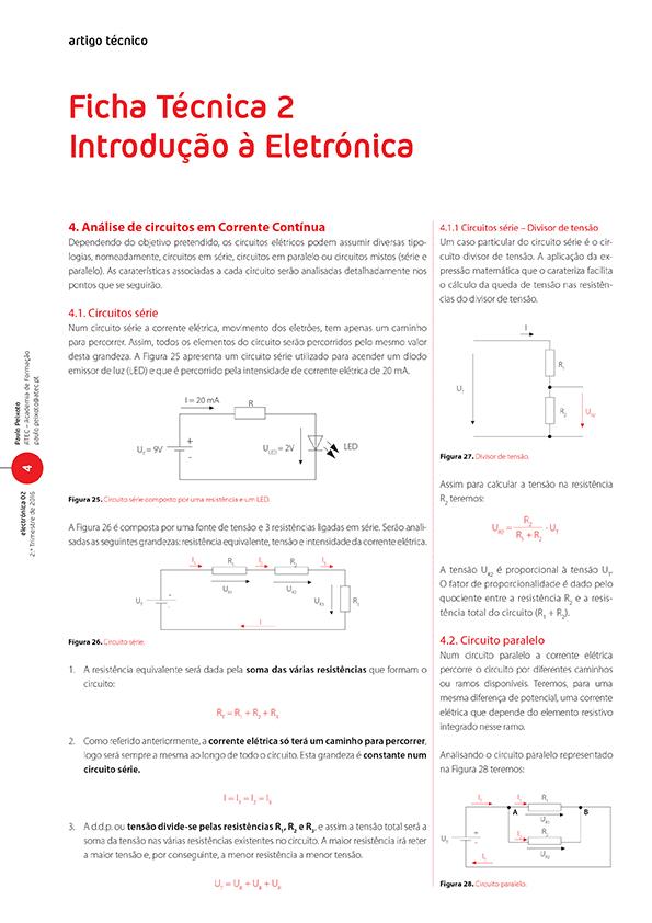Artigo sobre Ficha Técnica 2:  introdução à eletrónica (circuitos elétricos)