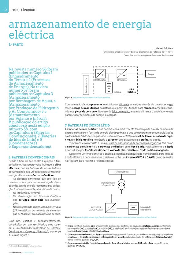 Artigo sobre Armazenamento de energia eléctrica - 3.ª Parte