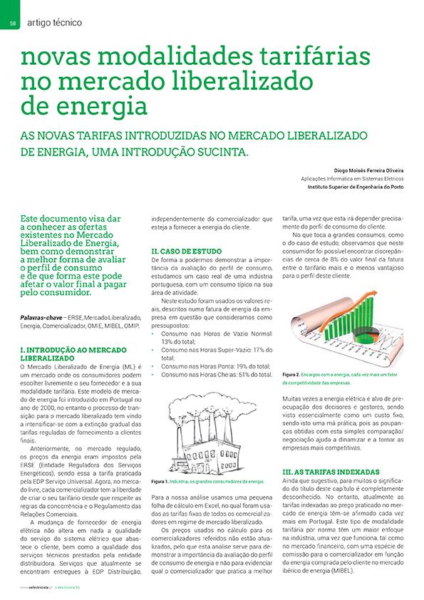 Artigo sobre novas modalidades tarifárias no mercado liberalizado de energia