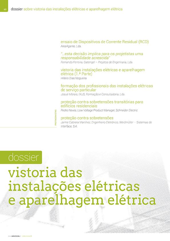 Dossier sobre Vistoria das instalações elétricas e aparelhagem elétrica