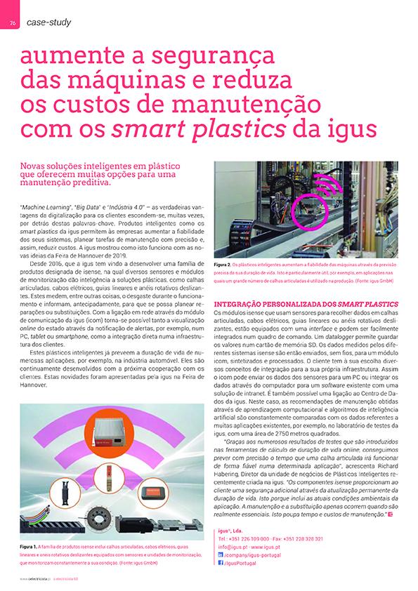 Artigo sobre Aumente a segurança das máquinas e reduza os custos de manutenção com os smart plastics da igus