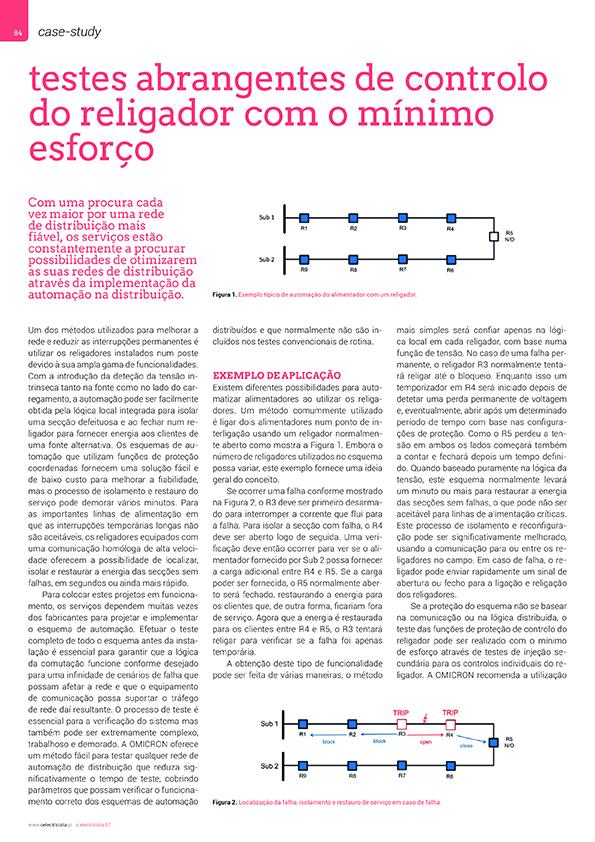Artigo sobre Testes abrangentes de controlo dos religadores com o mínimo esforço