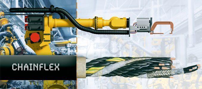 igus®: novos cabos para calhas articuladas da igus para o sétimo eixo dos robots da FANUC