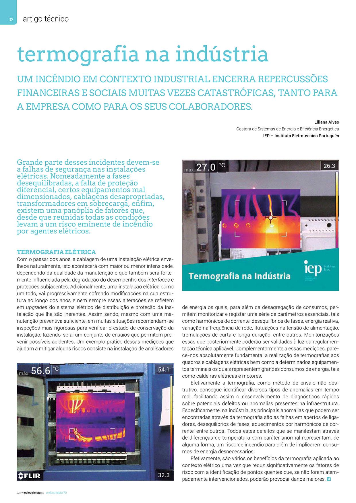 Artigo sobre termografia na indústria