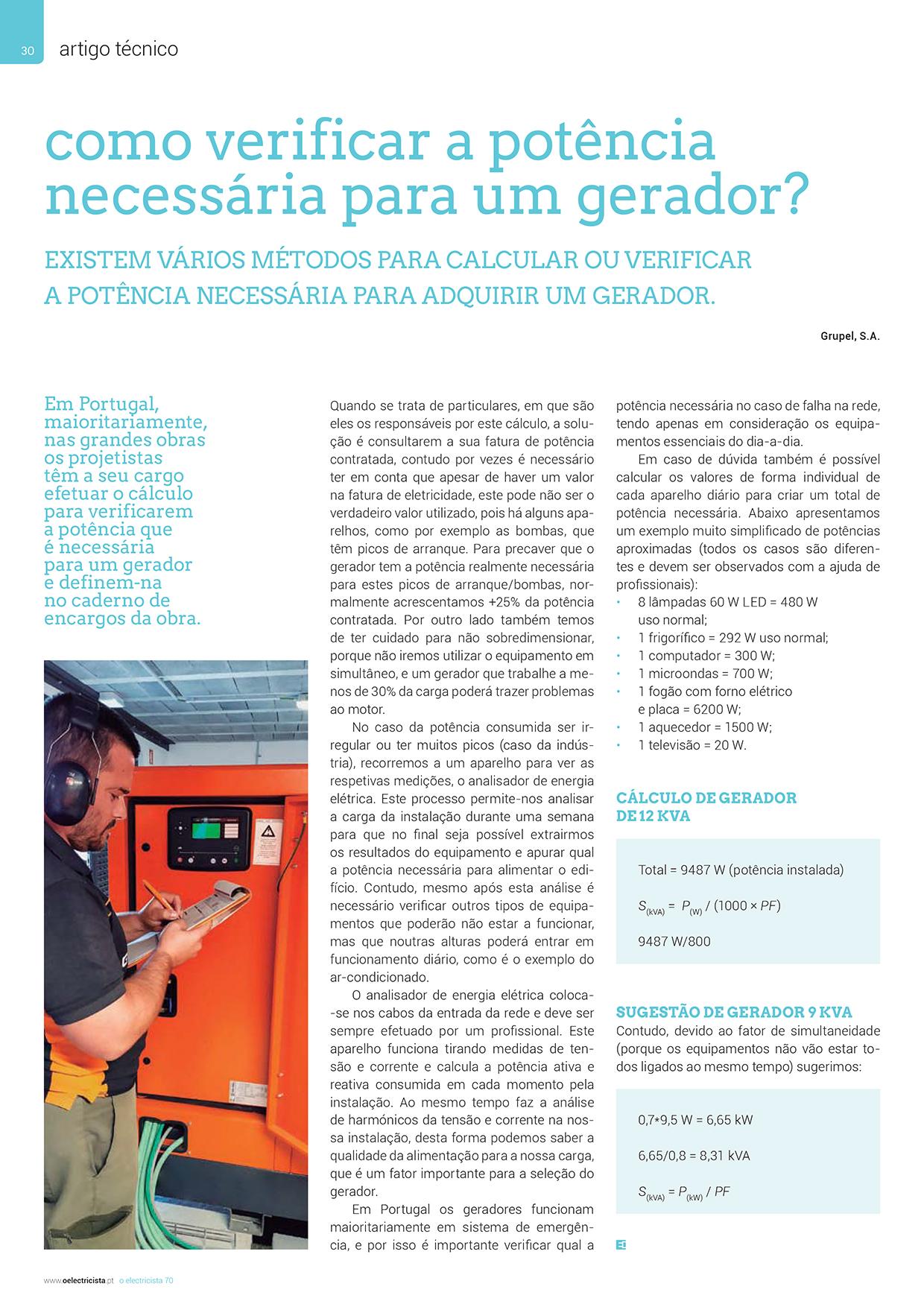 Artigo sobre como verificar a potência necessária para um gerador?