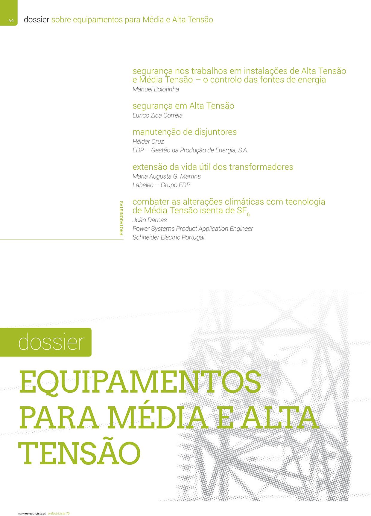 Dossier sobre Equipamentos para Média e Alta Tensão