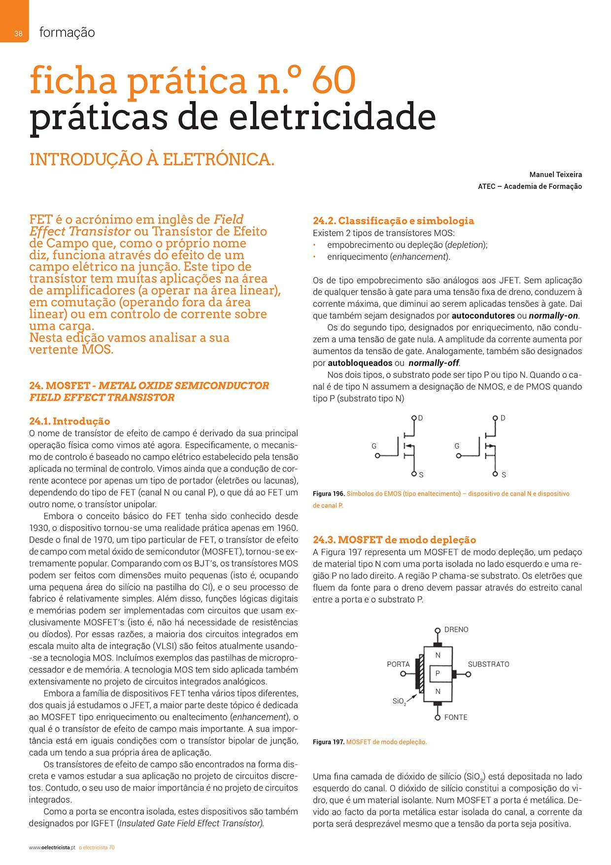 Artigo sobre ficha prática n.º 60: práticas de eletricidade - transístor (vertente MOS)