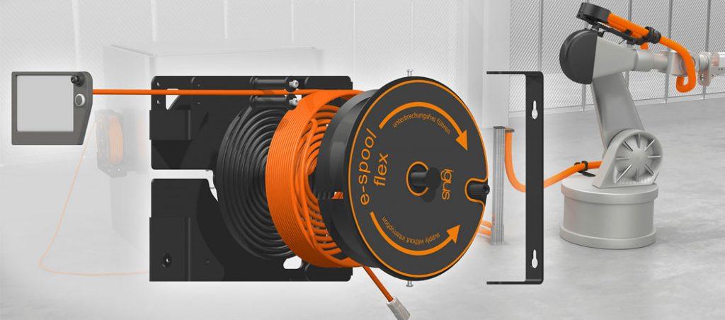 e-spool flex: guiar cabos sem anéis coletores
