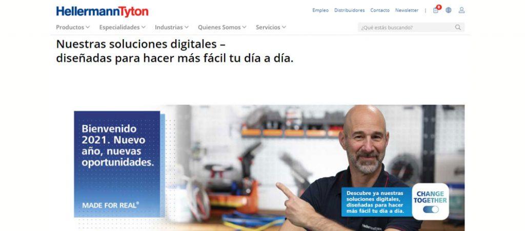 Website da HellermannTyton com novas soluções digitais para clientes