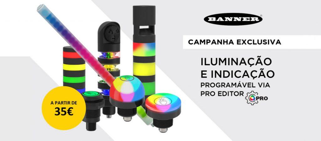 Campanha de iluminação e indicação programável via software Pro Editor