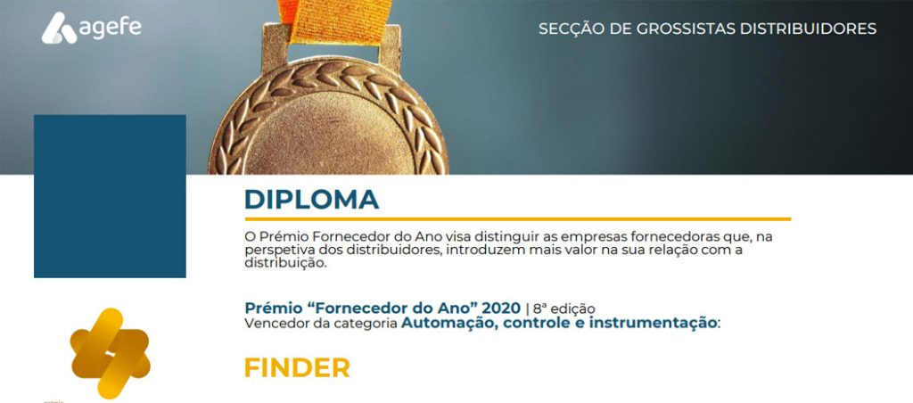 Finder distinguida como Fornecedor do Ano pela AGEFE